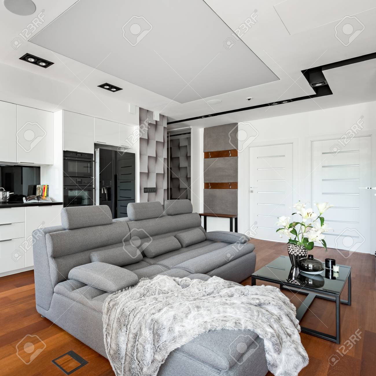 Picture of: Apartment With Gray Corner Sofa Table And Open Kitchen Stock Photo Picture And Royalty Free Image Image 105686989