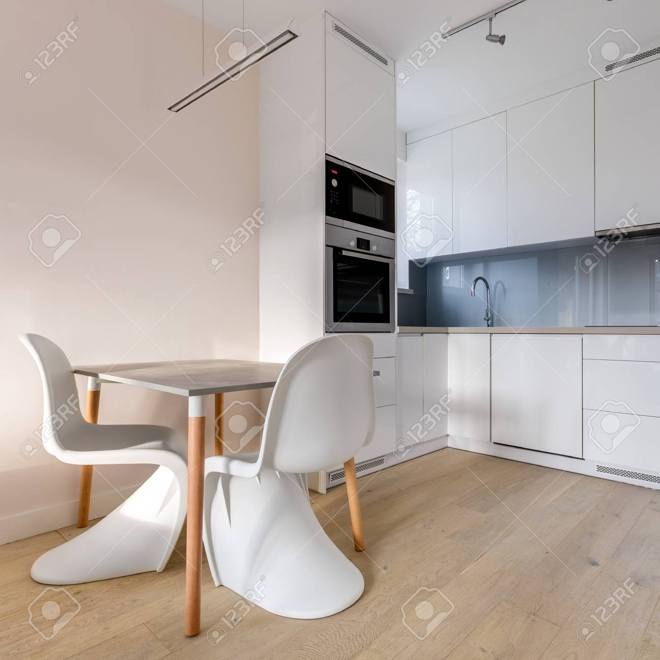 Admirable Simple Kitchen With Two White Chairs And Small Dining Table Forskolin Free Trial Chair Design Images Forskolin Free Trialorg