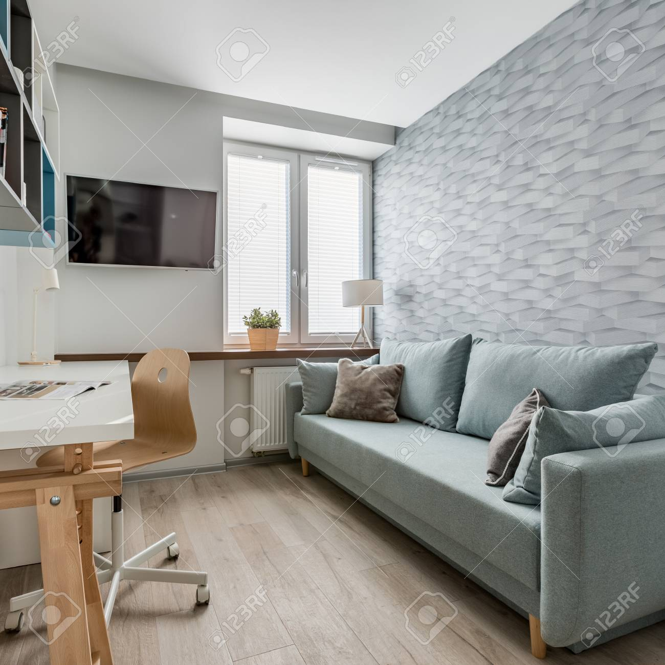 Study Room With Sofa And Modern 3d Wallpaper Lizenzfreie Fotos