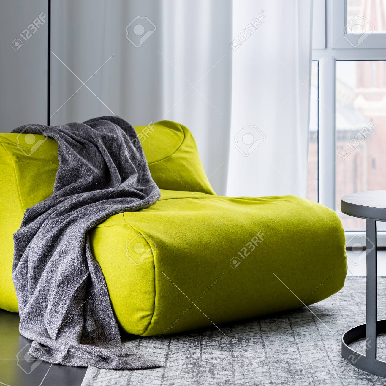 Stupendous Apartment Interior With New Green Bean Bag Sofa Creativecarmelina Interior Chair Design Creativecarmelinacom