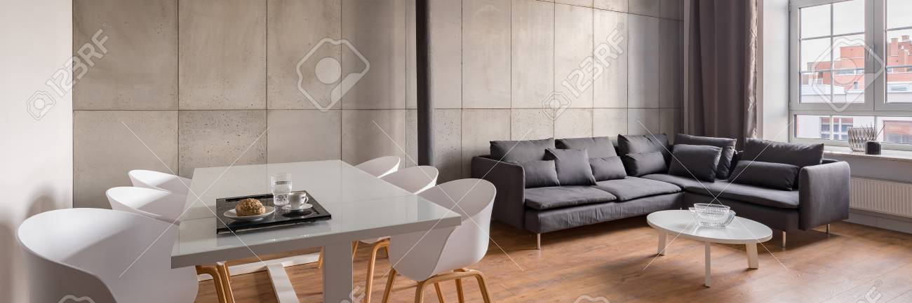 Astonishing Panorama Of Industrial Home Interior With Dining Table White Chairs And Sofa Forskolin Free Trial Chair Design Images Forskolin Free Trialorg