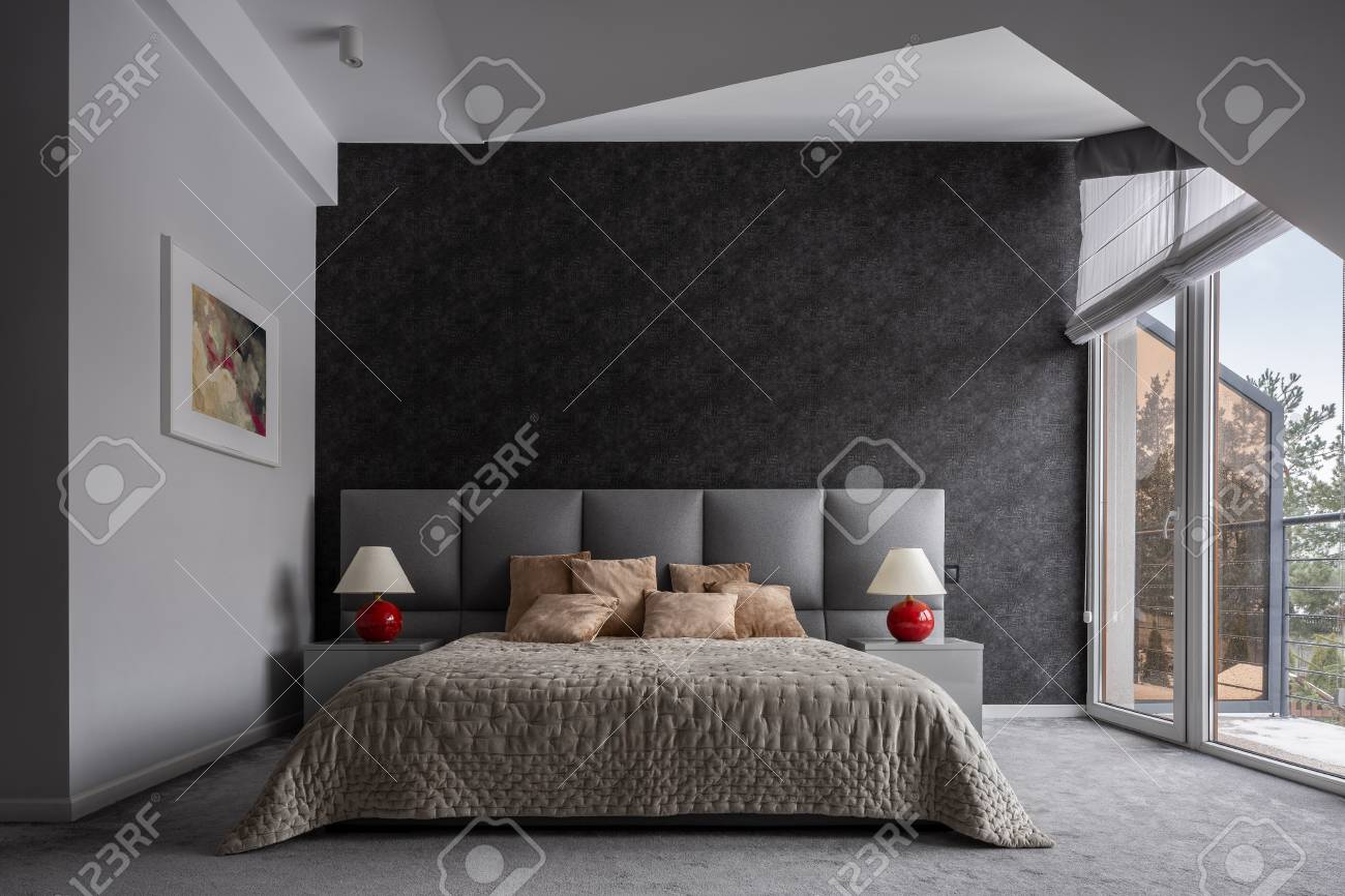 Modern Bedroom With Double Bed Black Wallpaper And Balcony Stock Photo Picture And Royalty Free Image Image 117076426
