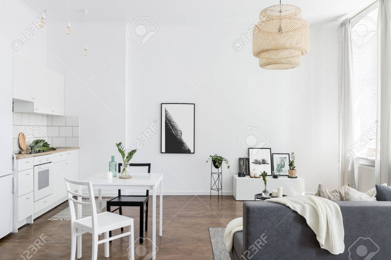 Scandinavian Studio Apartment With Living Room And Kitchen Combined Stock Photo Picture And Royalty Free Image Image 119654121