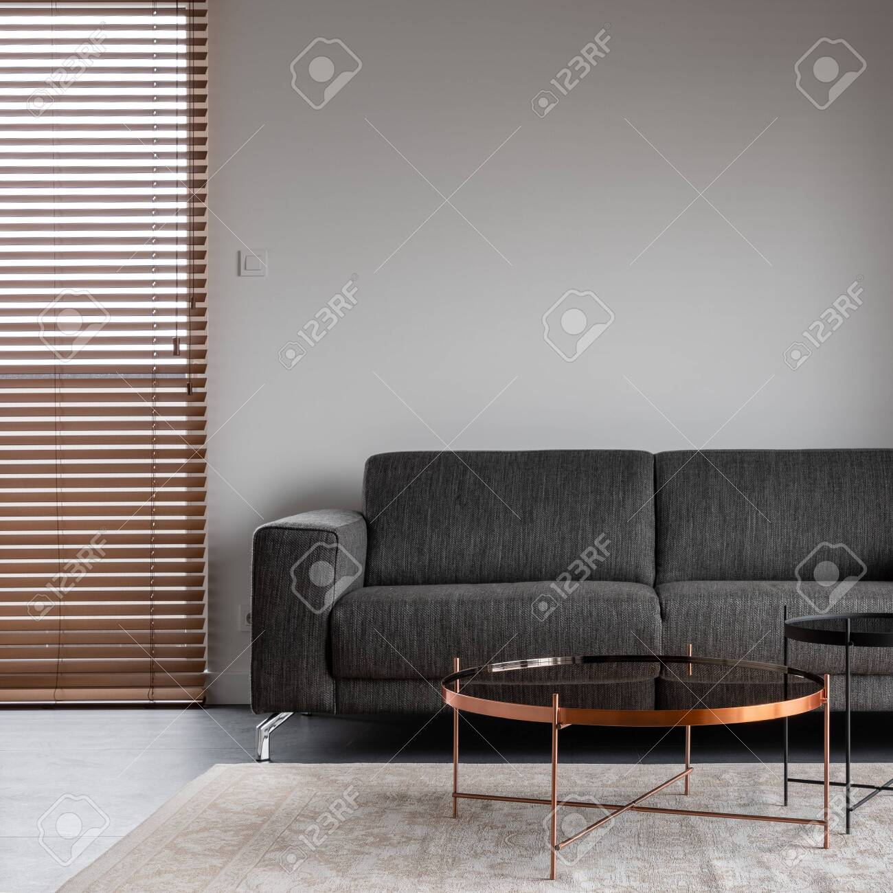 Living Room With Wooden Blinds Simple Gray Sofa And Copper Coffee Stock Photo Picture And Royalty Free Image Image 126255673