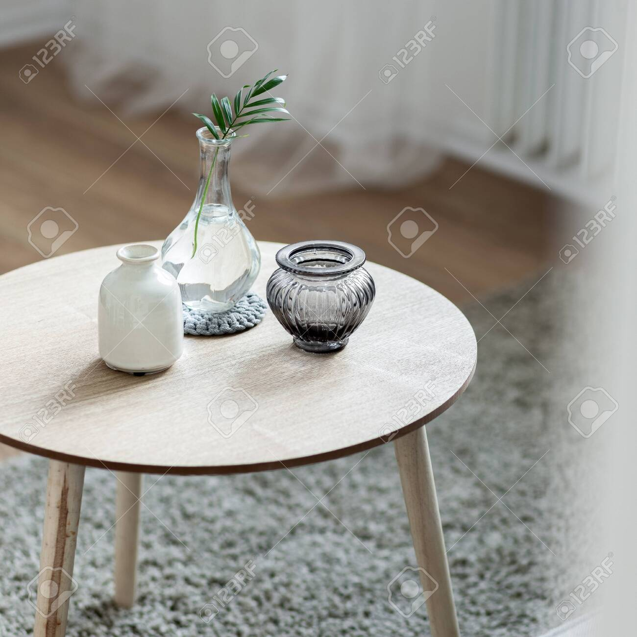 - Home Interior With Scandinavian Style Wooden, Round Coffee Table