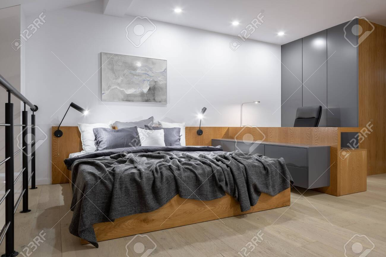 Stylish And New Design Bedroom With Big Wooden Bed Long Wooden Stock Photo Picture And Royalty Free Image Image 145444783