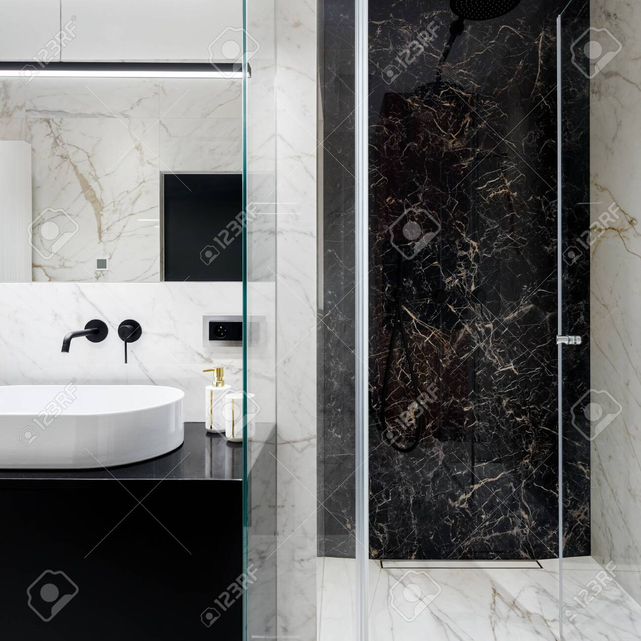 Elegant Bathroom With Spacious Shower With Black And White Marble Stock Photo Picture And Royalty Free Image Image 148779074