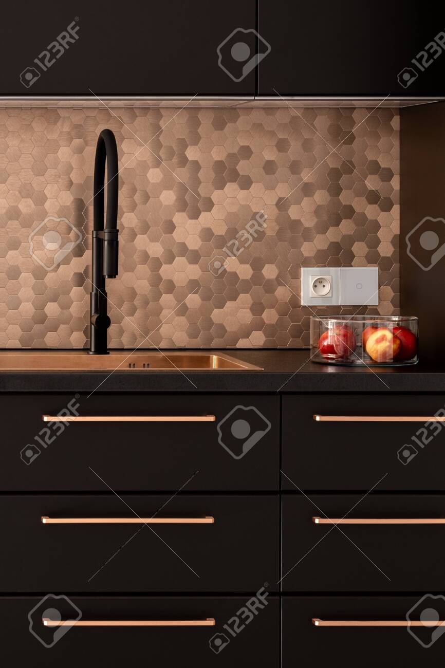 Elegant Kitchen With Copper Sink Furniture Handles And Wall Stock Photo Picture And Royalty Free Image Image 149605533