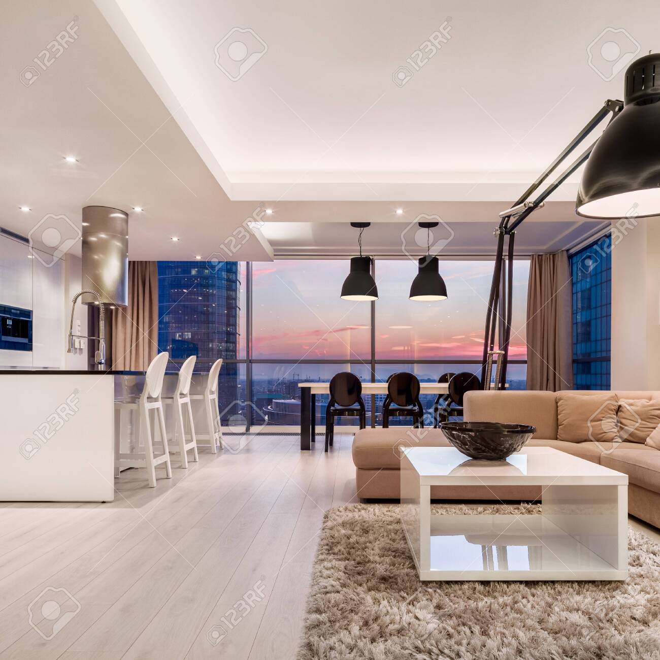 Luxury Decorated Apartment With Living Room Open To Kitchen And Stock Photo Picture And Royalty Free Image Image 154664859