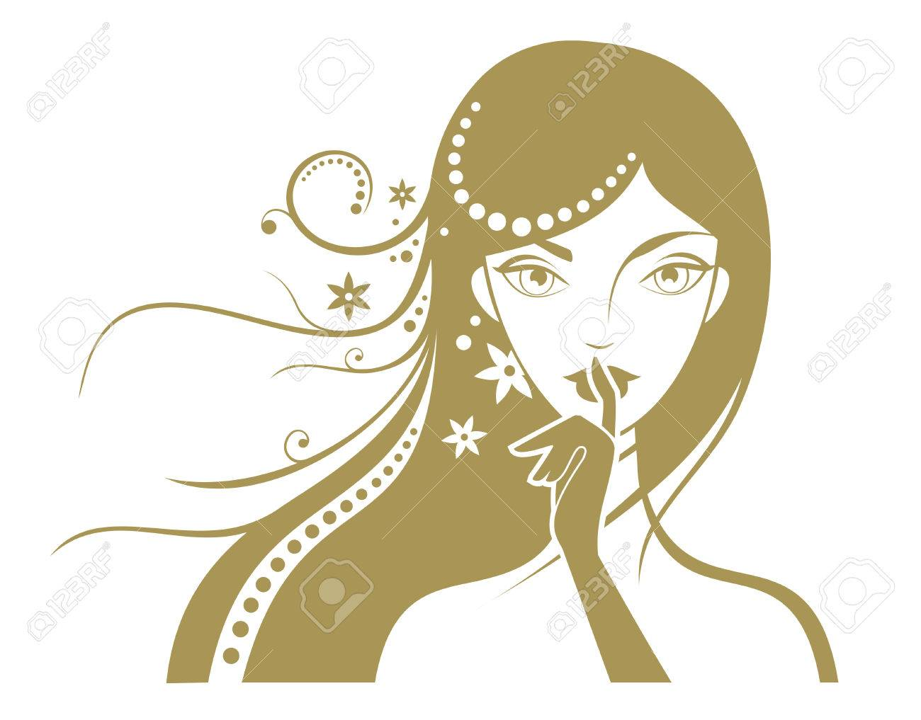 Girl face silhouette with finger on white background Stock Vector - 1815656