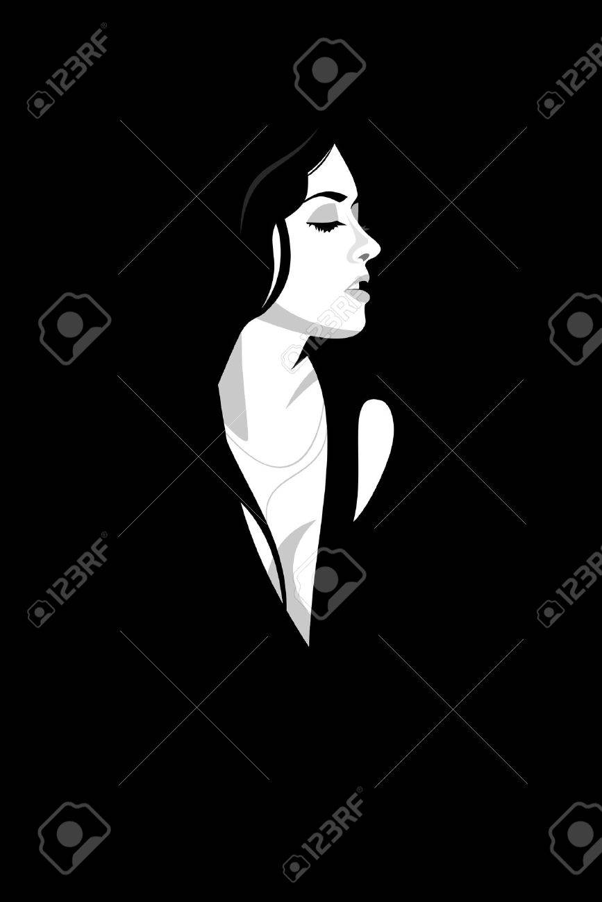 Glamour woman on black background. Vector Stock Vector - 1907595