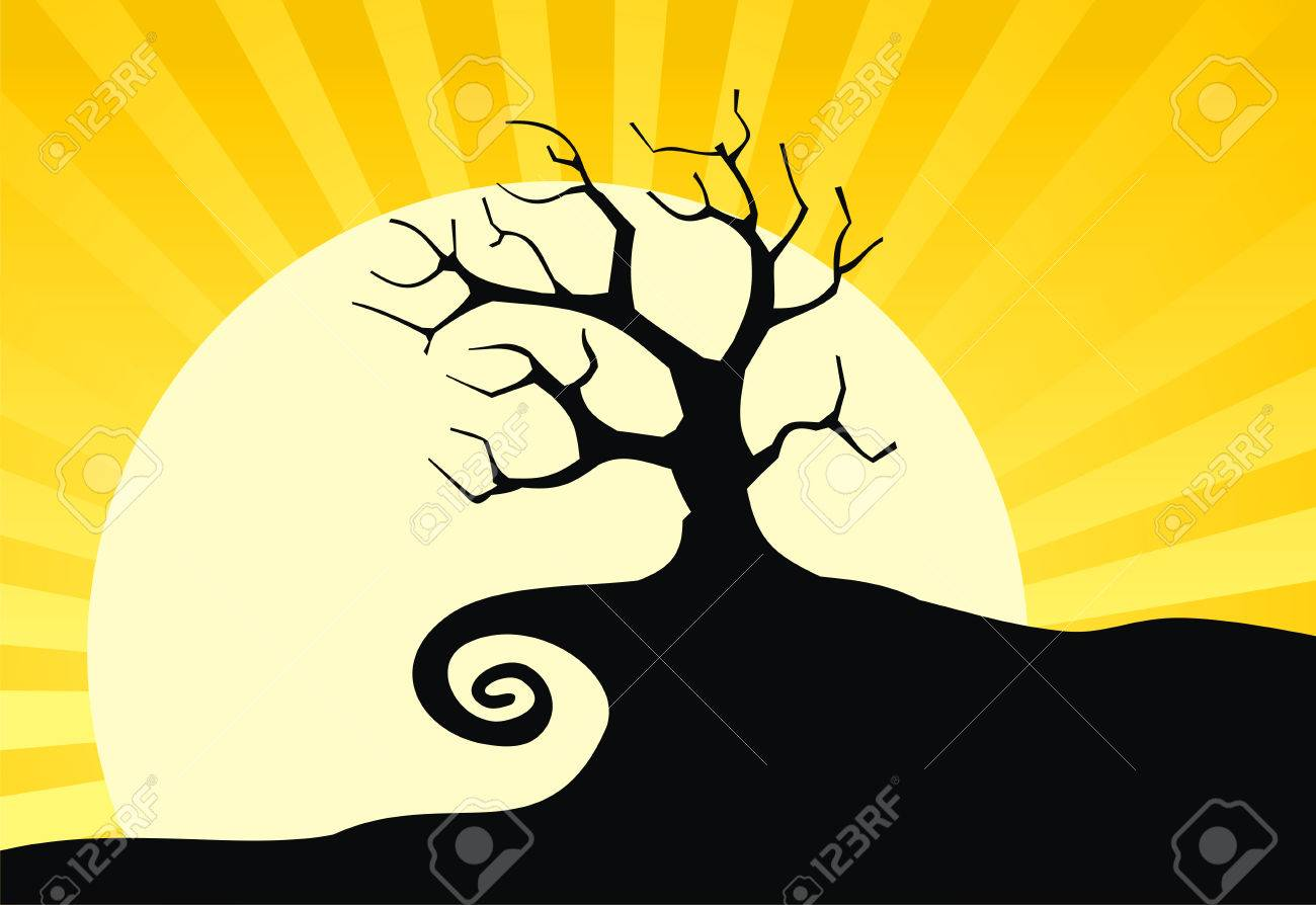 Silhouette old tree with moon. Vector. Stock Vector - 2226531