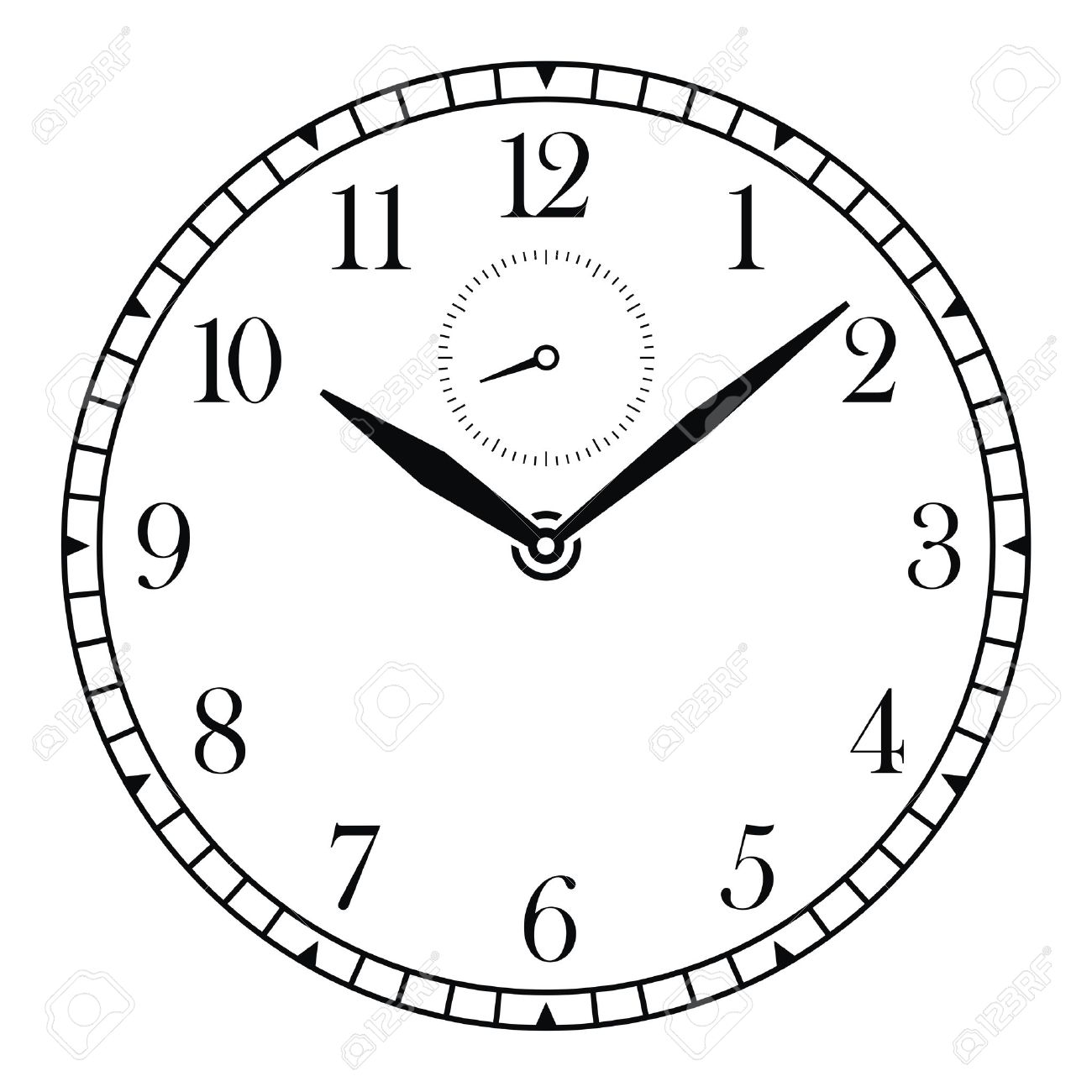 vector clock face and hands royalty free cliparts, vectors, and