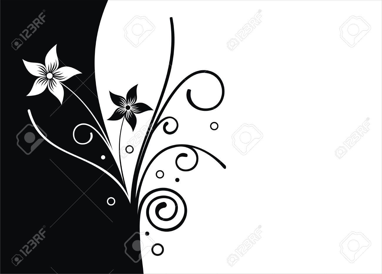 Black And White Flower Vector Background Royalty Free Cliparts