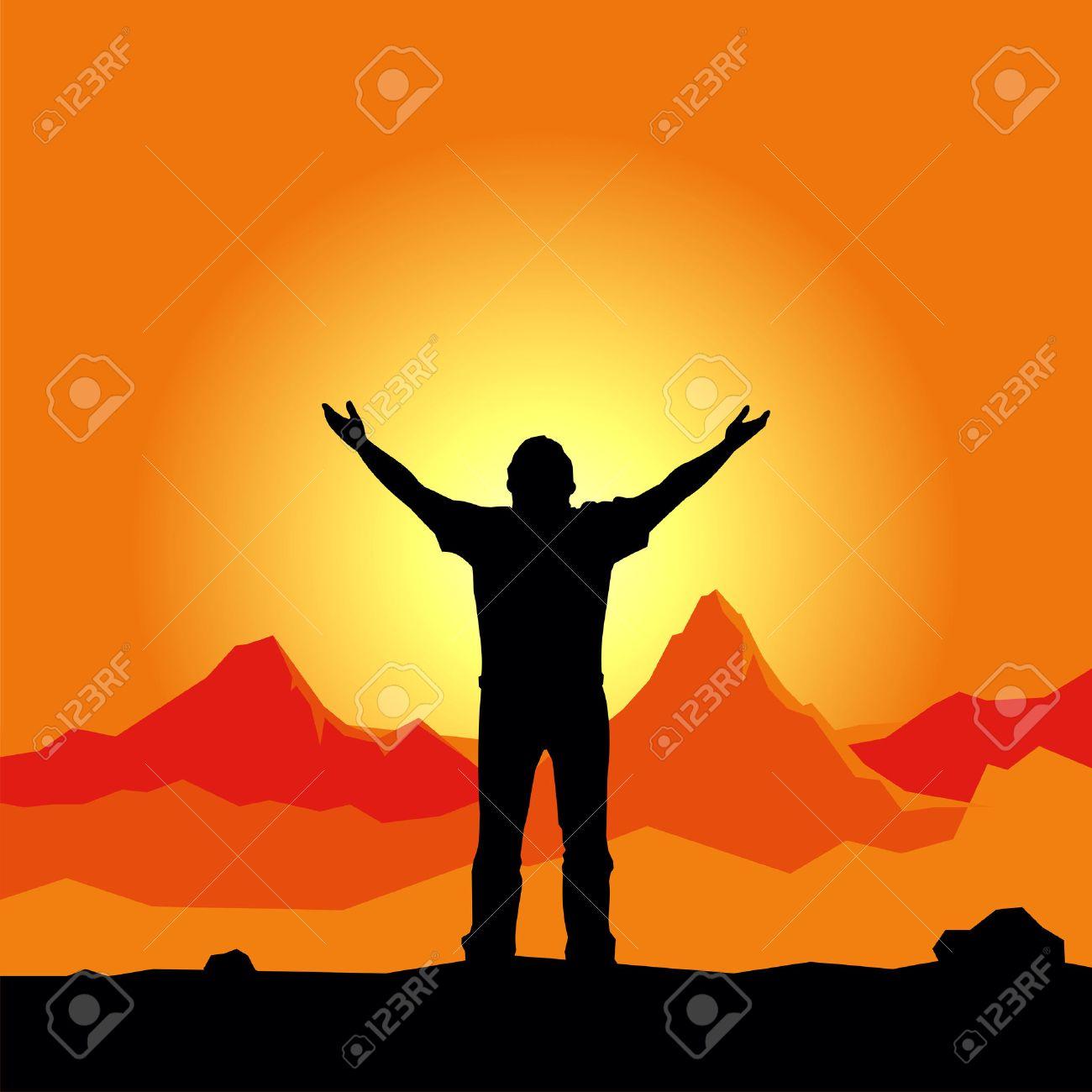 Vector silueta orando hombre  Foto de archivo - 2722507
