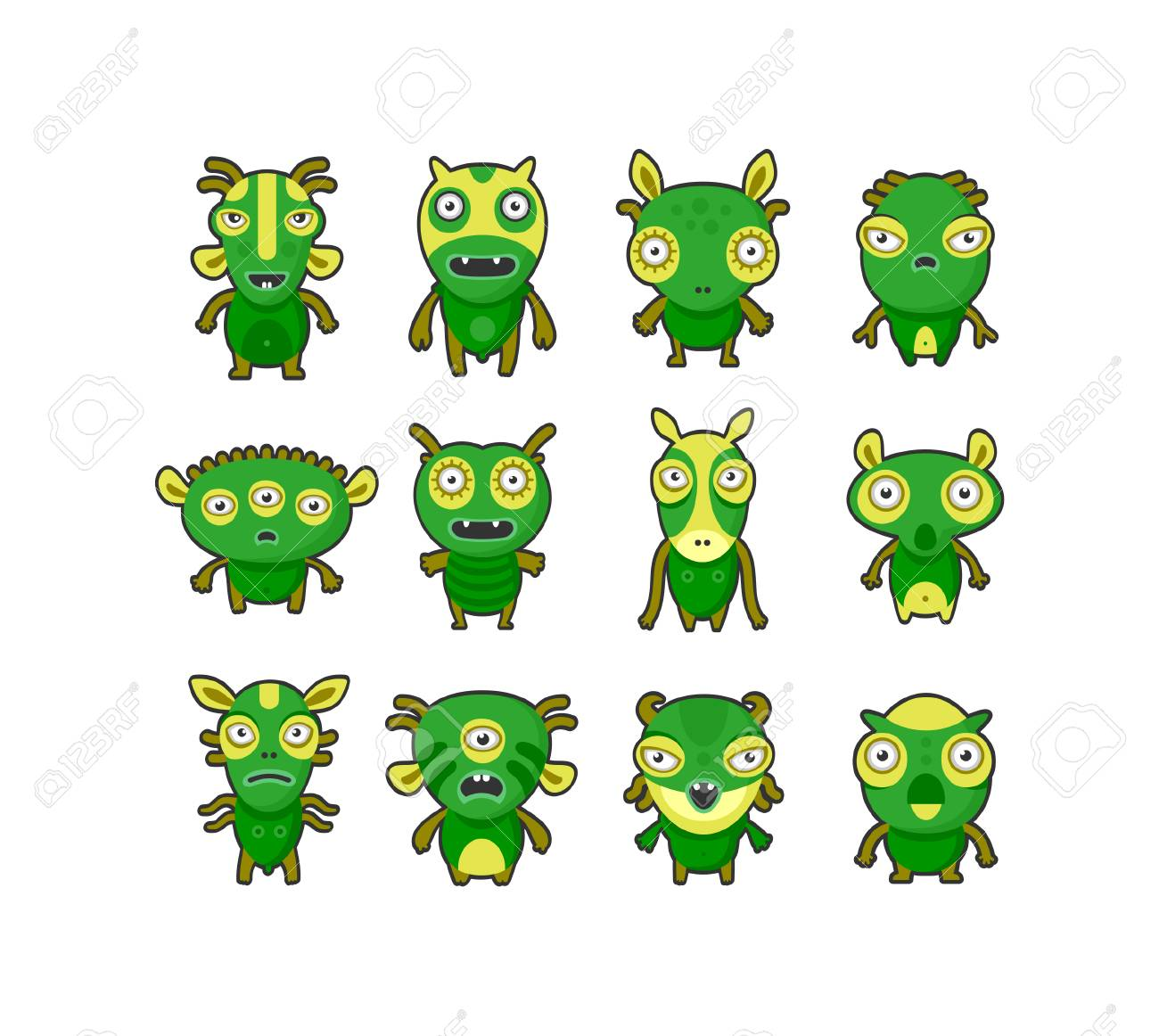 Aliens green on white set Stock Vector - 6057456