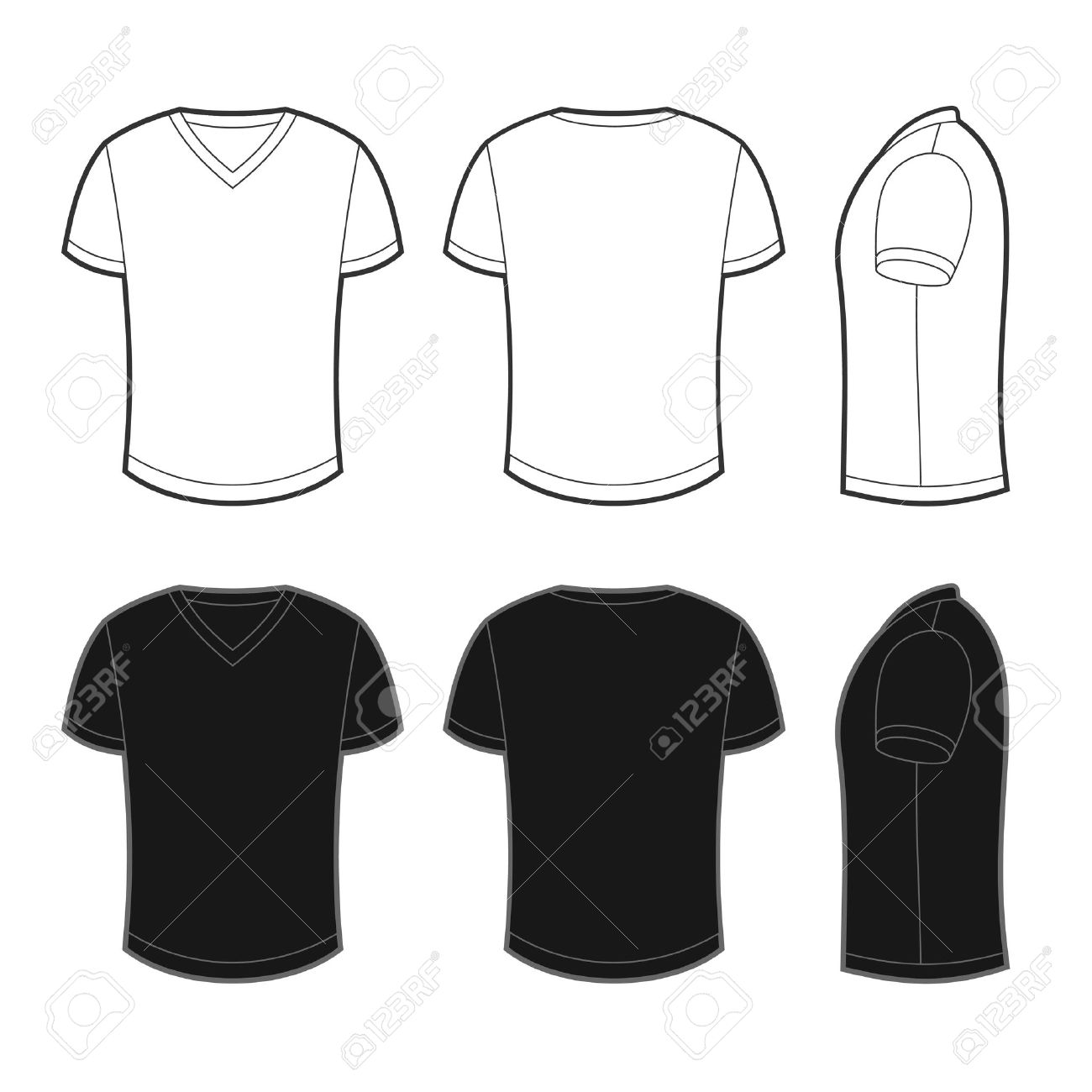 Blank black t shirt front and back - Front Back And Side Views Of White And Black Blank T Shirt Stock Photo