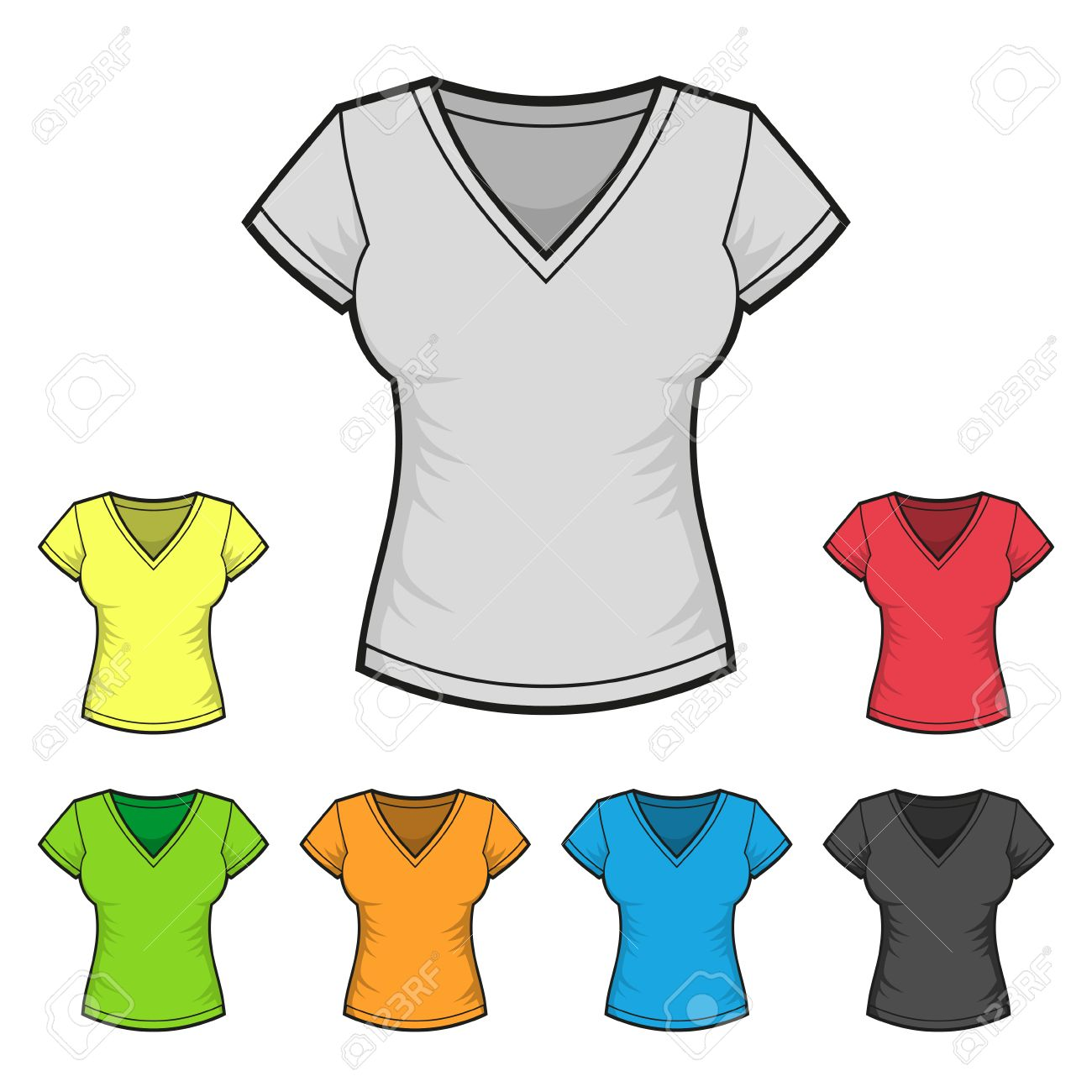 975154bc Women's V-neck T-shirt Design Template Color Set Royalty Free ...