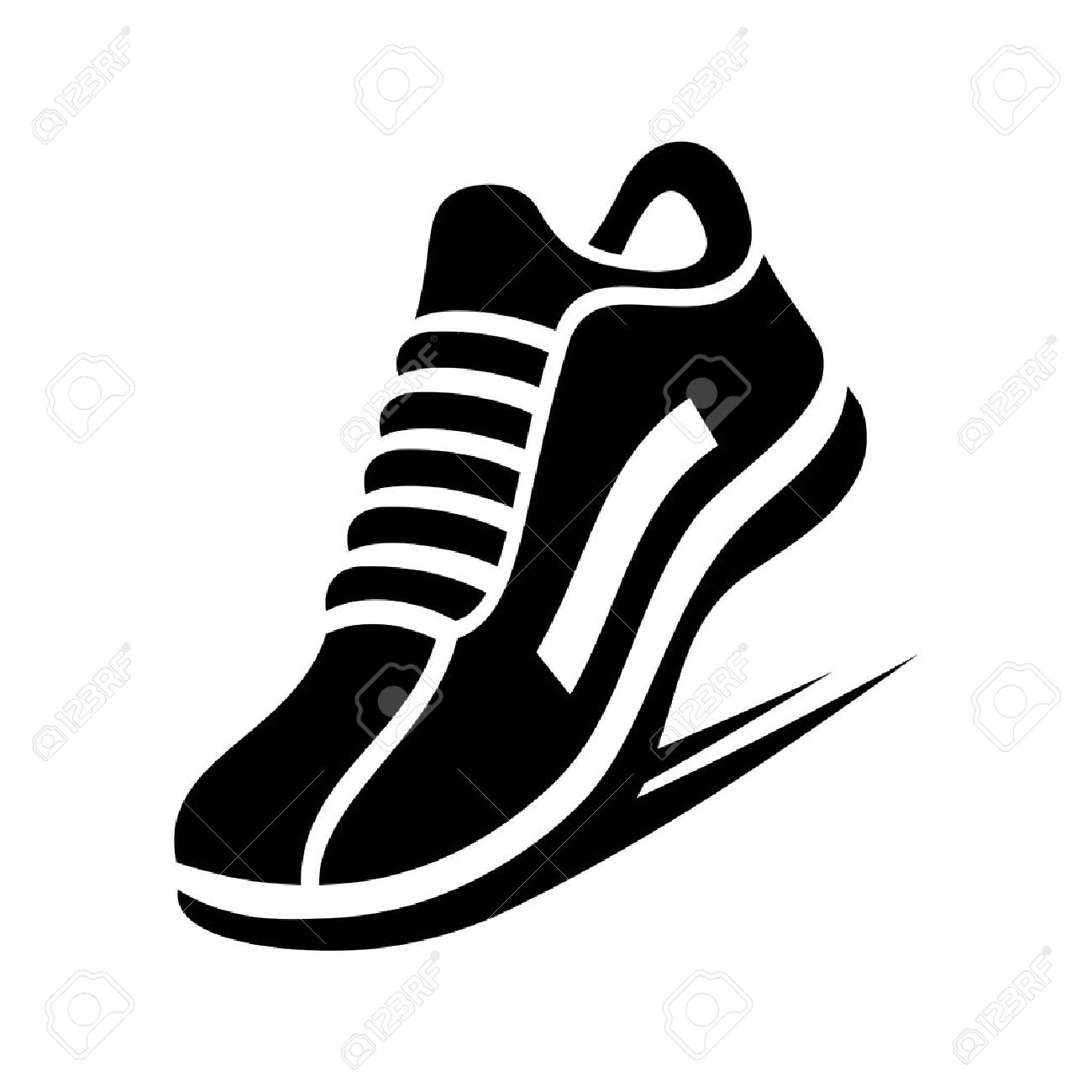 running shoe icon on white background royalty free cliparts vectors rh 123rf com running shoe free vector download running shoe track vector