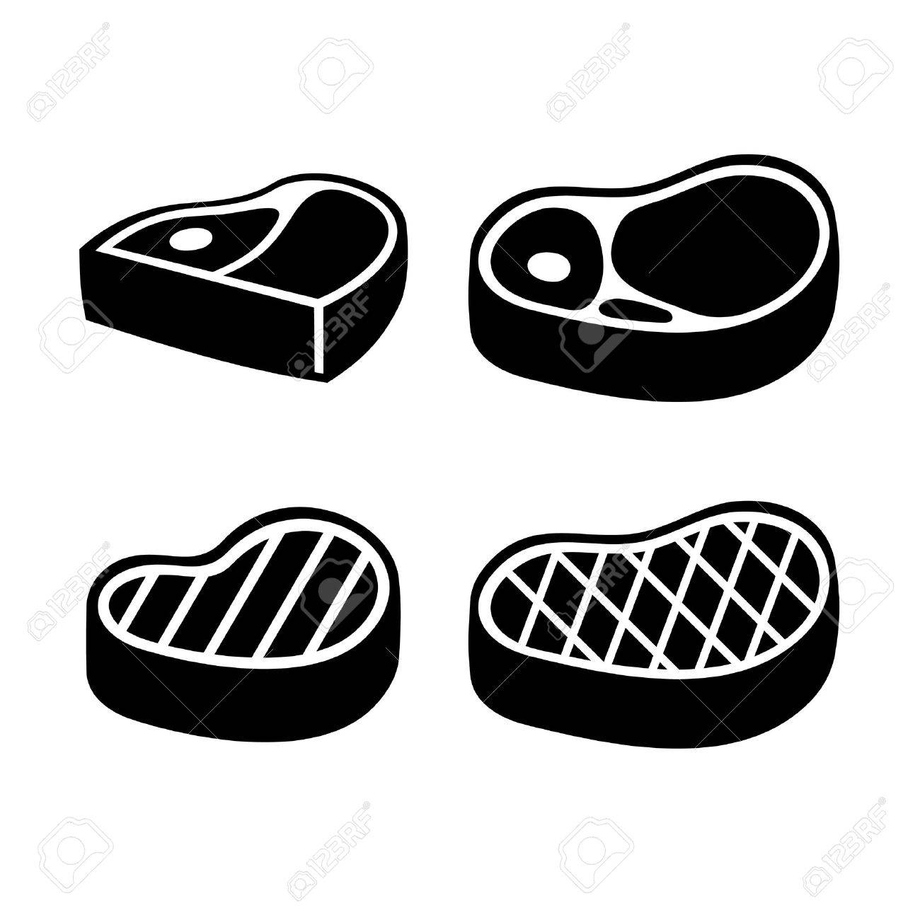 Beef Meat Steak Icons Set. Vector illustration - 35328562