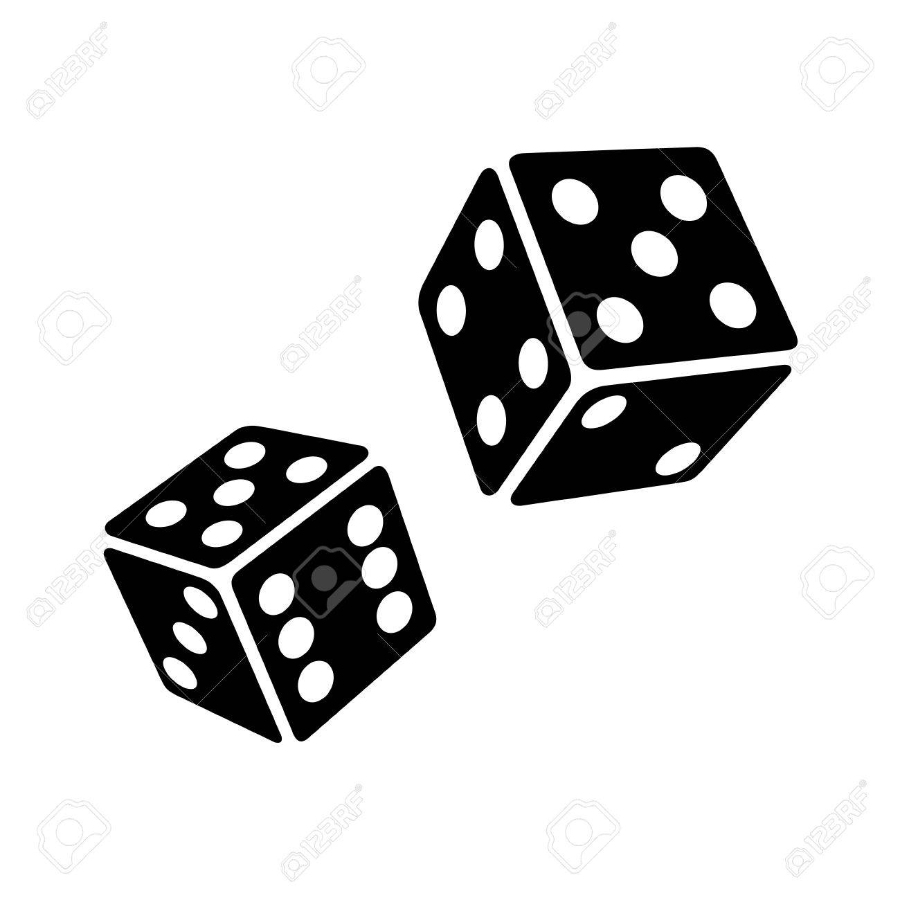 two black dice cubes on white background vector illustrations rh 123rf com dice vector icon dice vector images