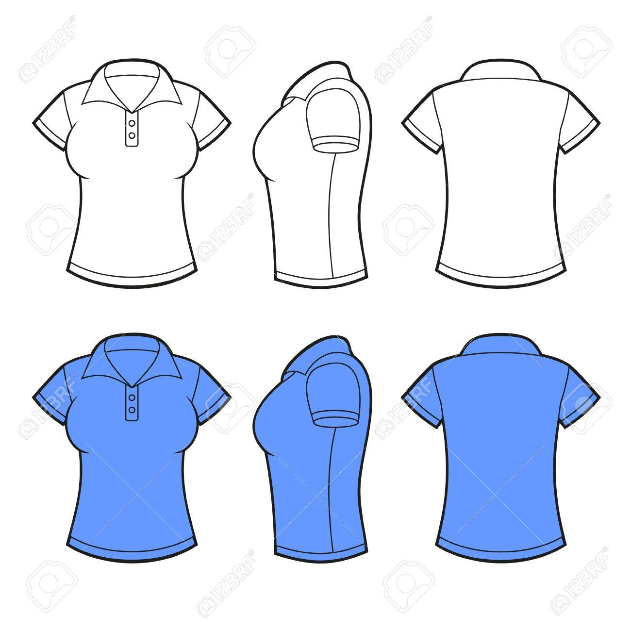 Women Polo Shirt Template Front Back And Side View Vector