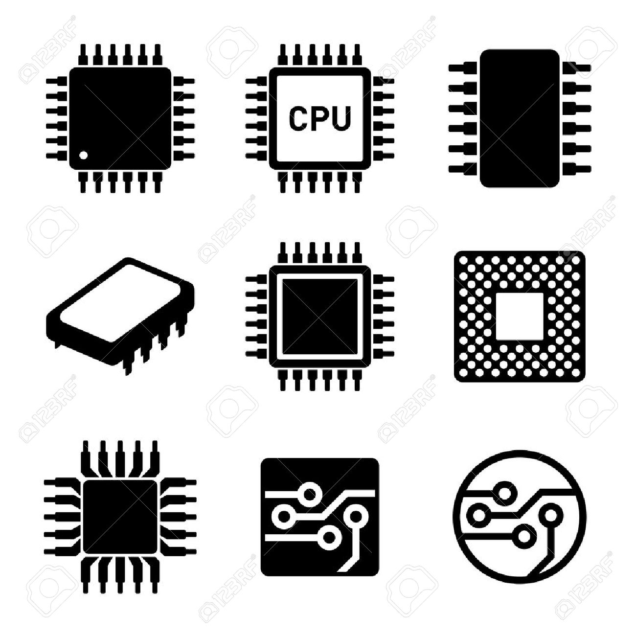 CPU Microprocessor and Chips Icons Set. Vector illustration. - 45013769