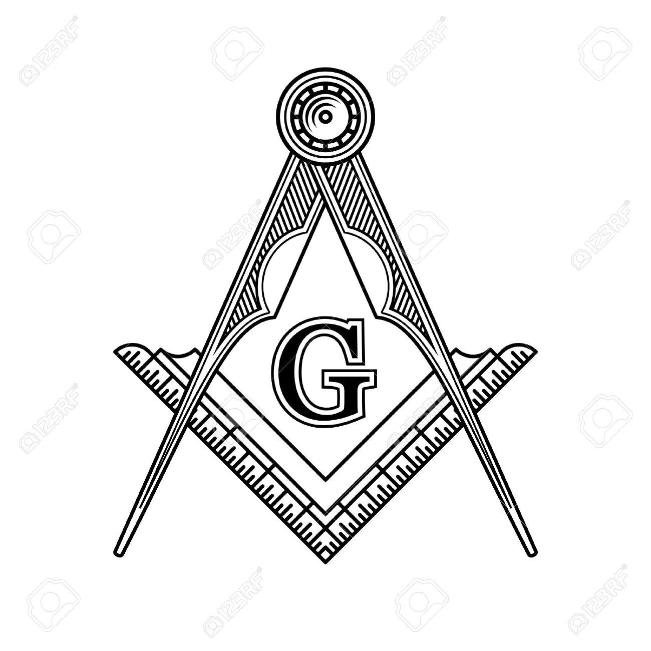 Masonic Freemasonry Emblem Icon Logo Vector Illustration Royalty
