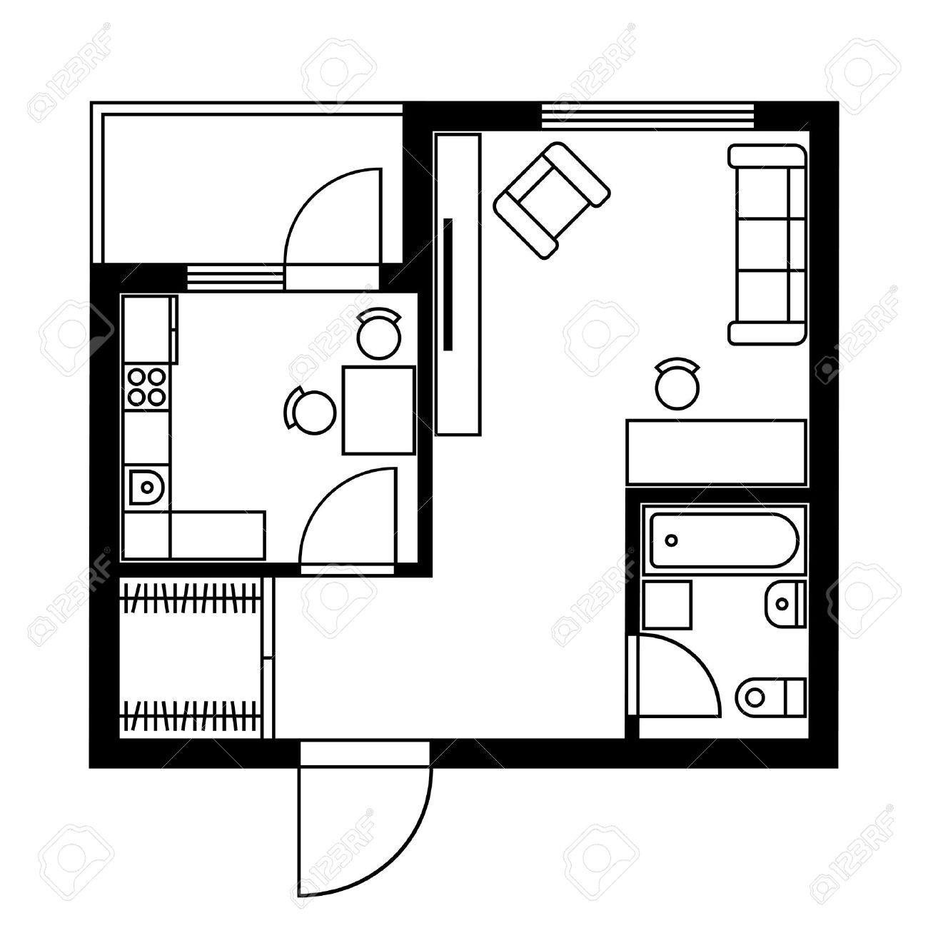 Floor Plan Of A House With Furniture. Vector Illustration Royalty ...