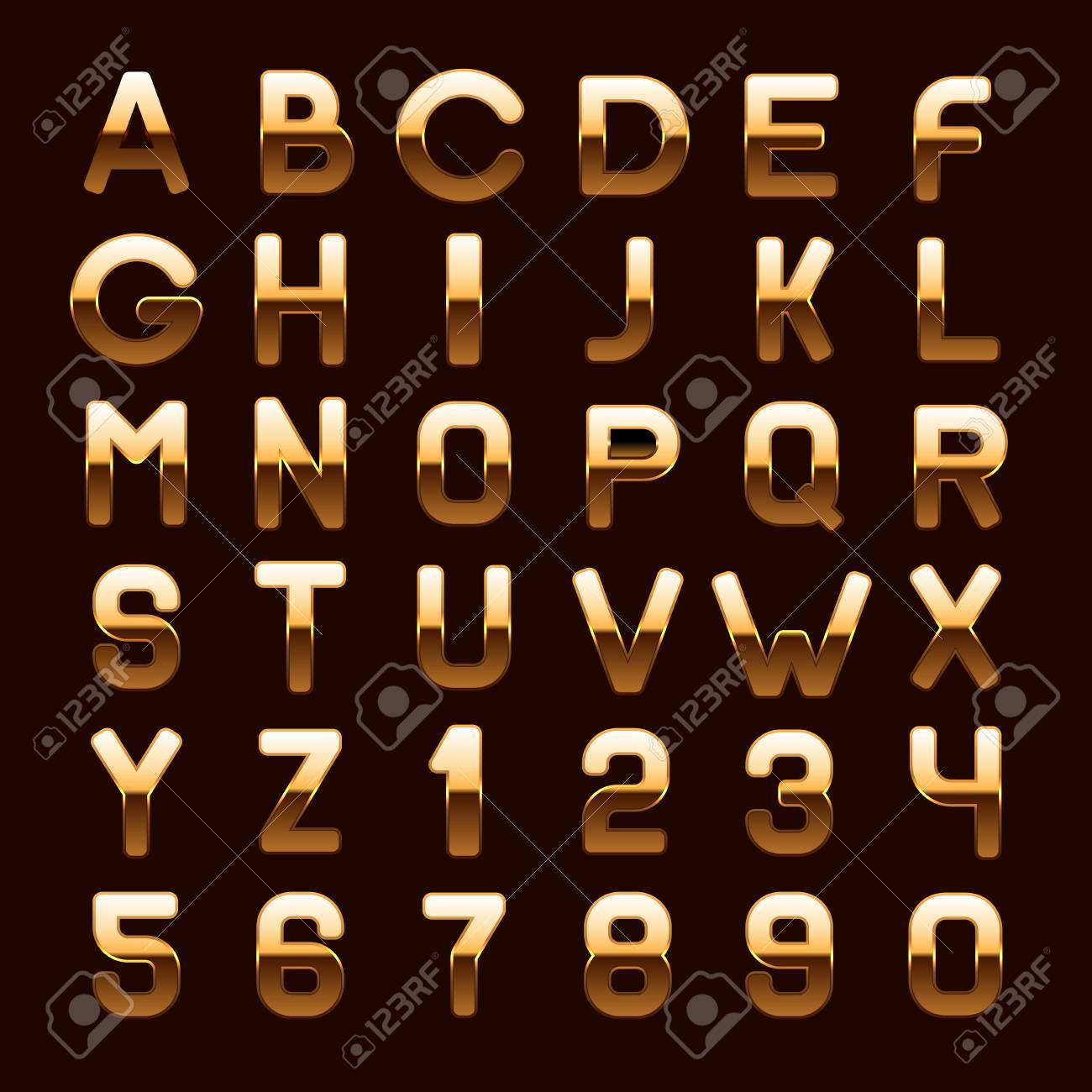 f2215a37f933 Golden Metallic Shiny ABC Letters and Numbers Isolated on Dark Background.  Vector illustration Stock Vector