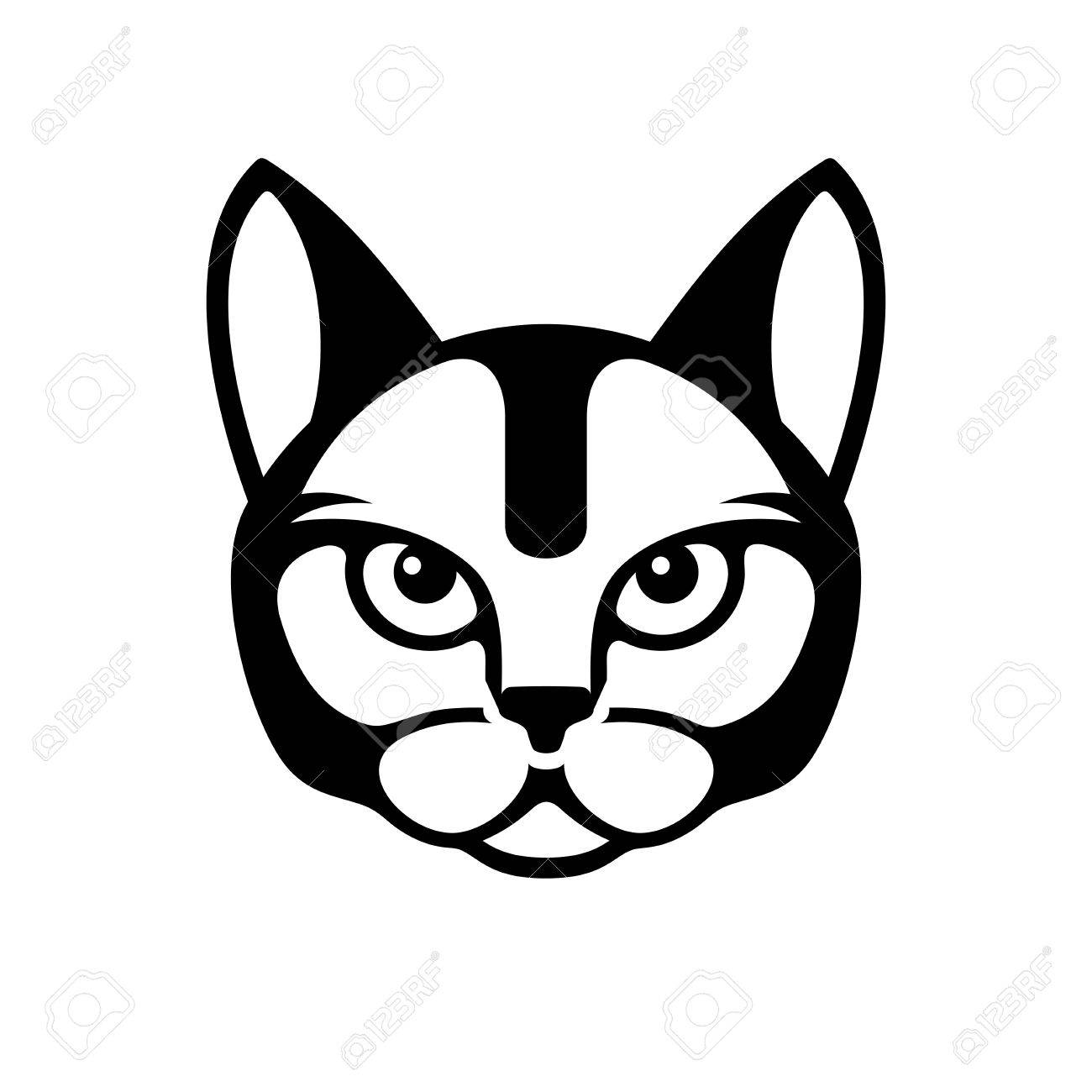 black cat face icon on white background illustration royalty free rh 123rf com cute cat face clipart cat face clipart black and white free