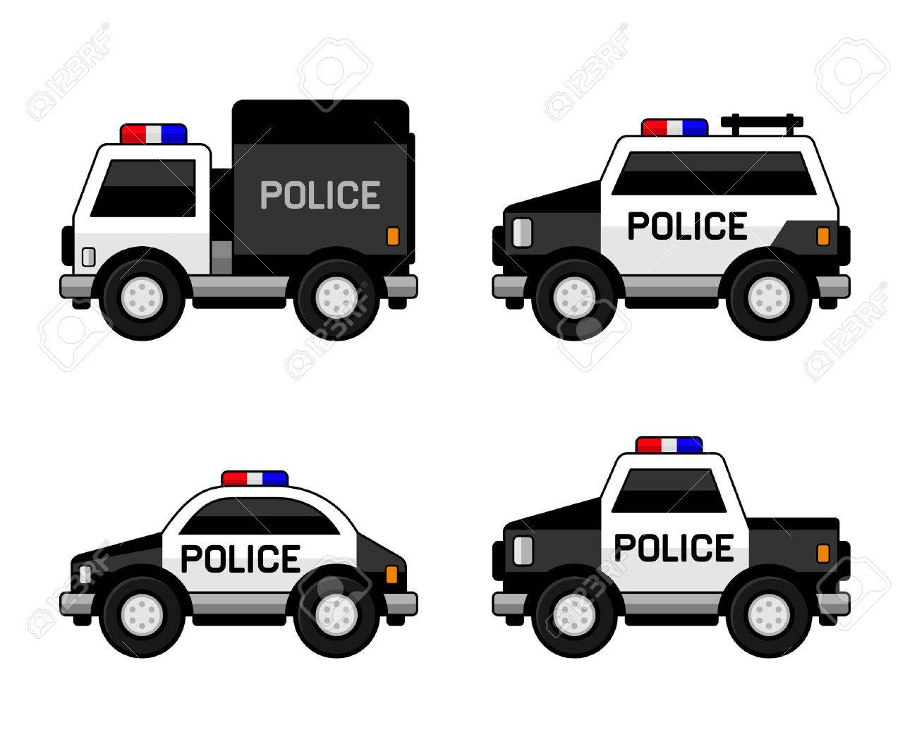 Police Car Set. Classic Black and White Colors. illustration - 53382466