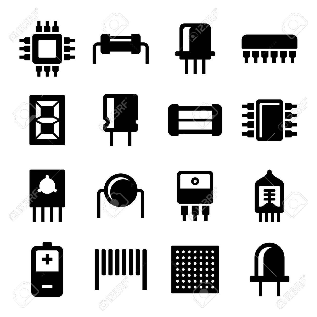 Electronic Components and Microchip Icons Set. illustration - 53666879