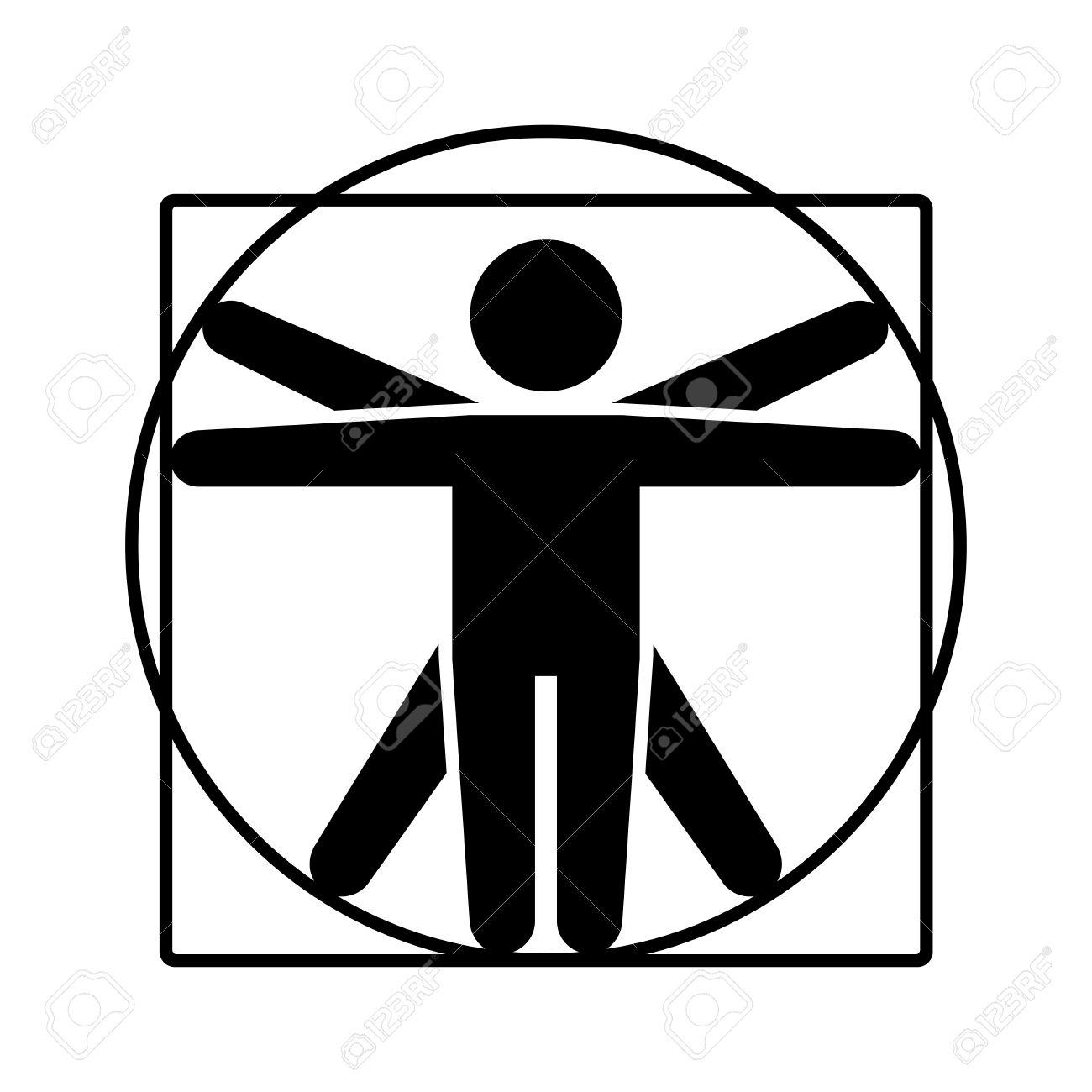 leonardo da vinci vitruvian man sign logo stick style icon rh 123rf com vitruvian man vector file vitruvian man vector free