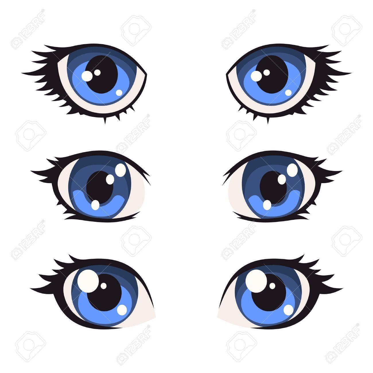 Blue cartoon anime eyes set vector illustration stock vector 57287750