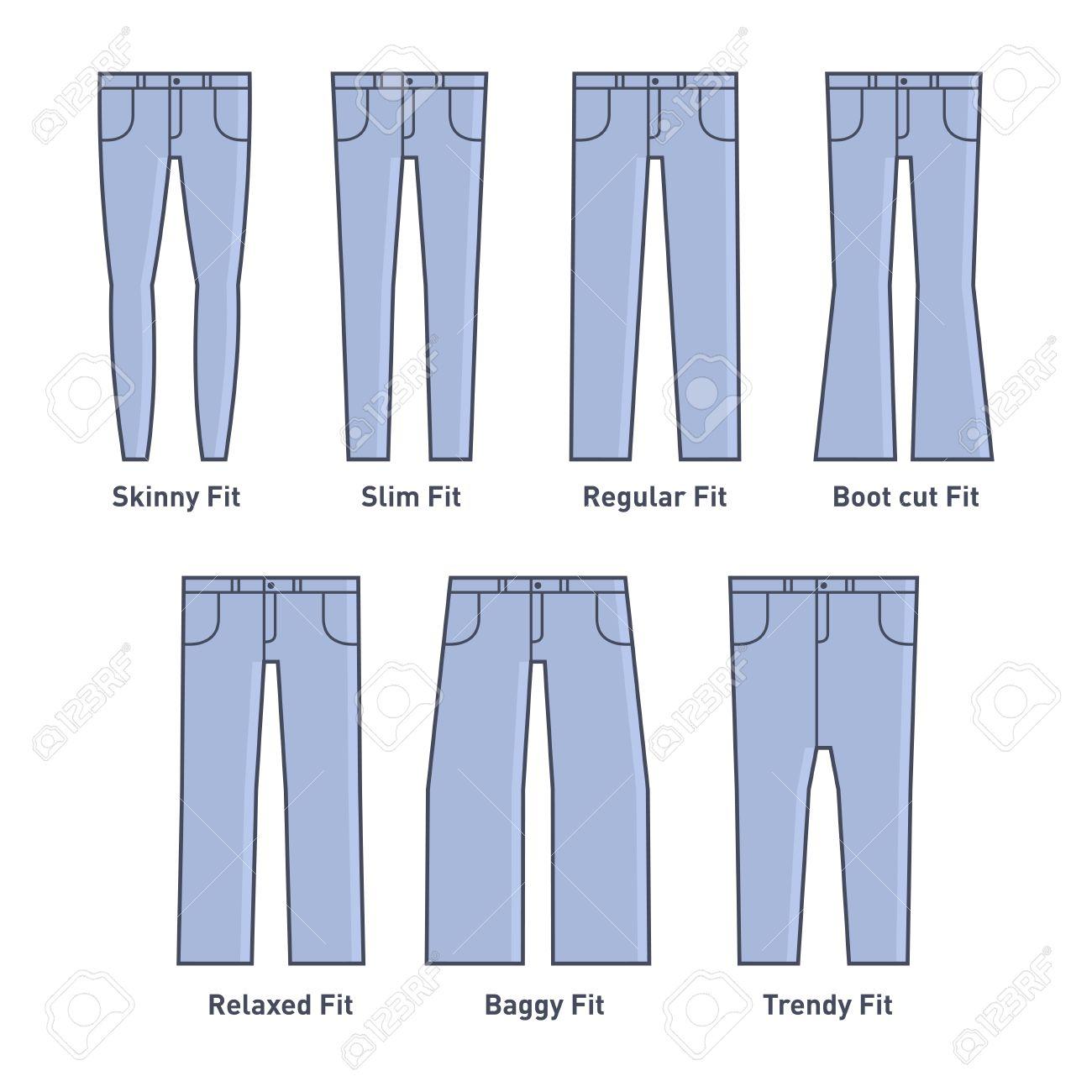 Femmes Jeans Types Situé Sur Fond Blanc.