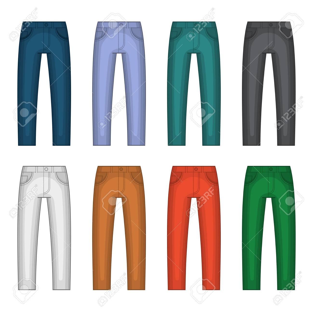 c81744116 Denim Jeans diverso sistema de colores. ilustración vectorial