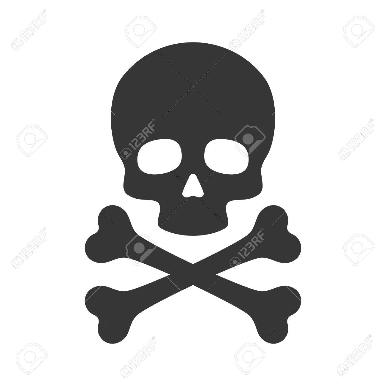 skull and crossbones icon on white background vector illustration