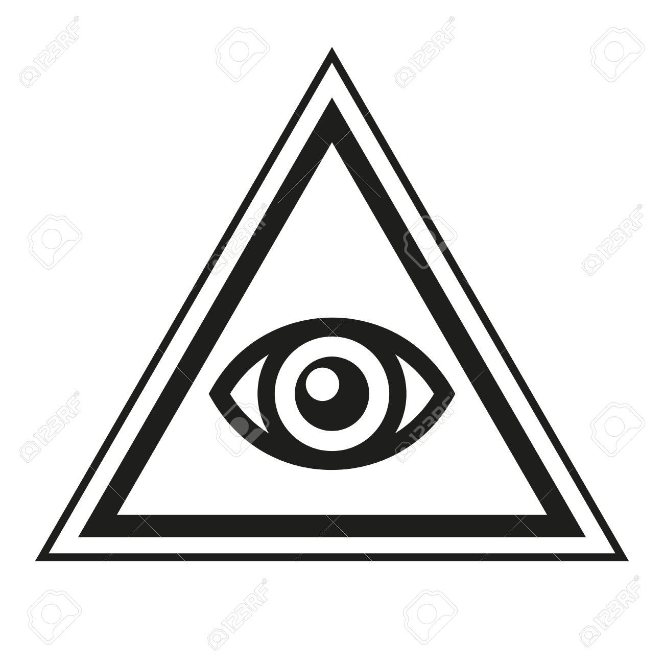 Masonic Symbol All Seeing Eye Inside Pyramid Triangle Icon