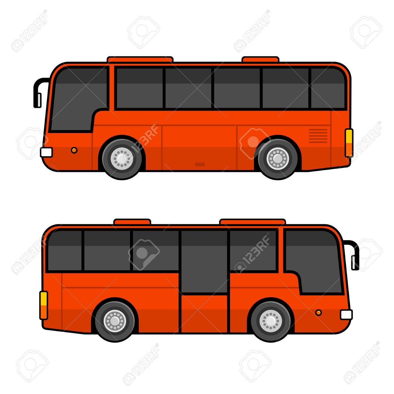 Red Bus Vorlage Set Auf Weißem Hintergrund. Vektor-Illustration ...