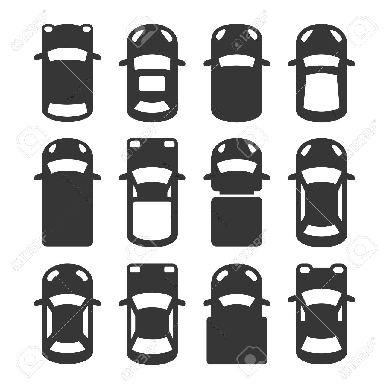 Car Top View Icons Set Vector Illustration Royalty Free Cliparts