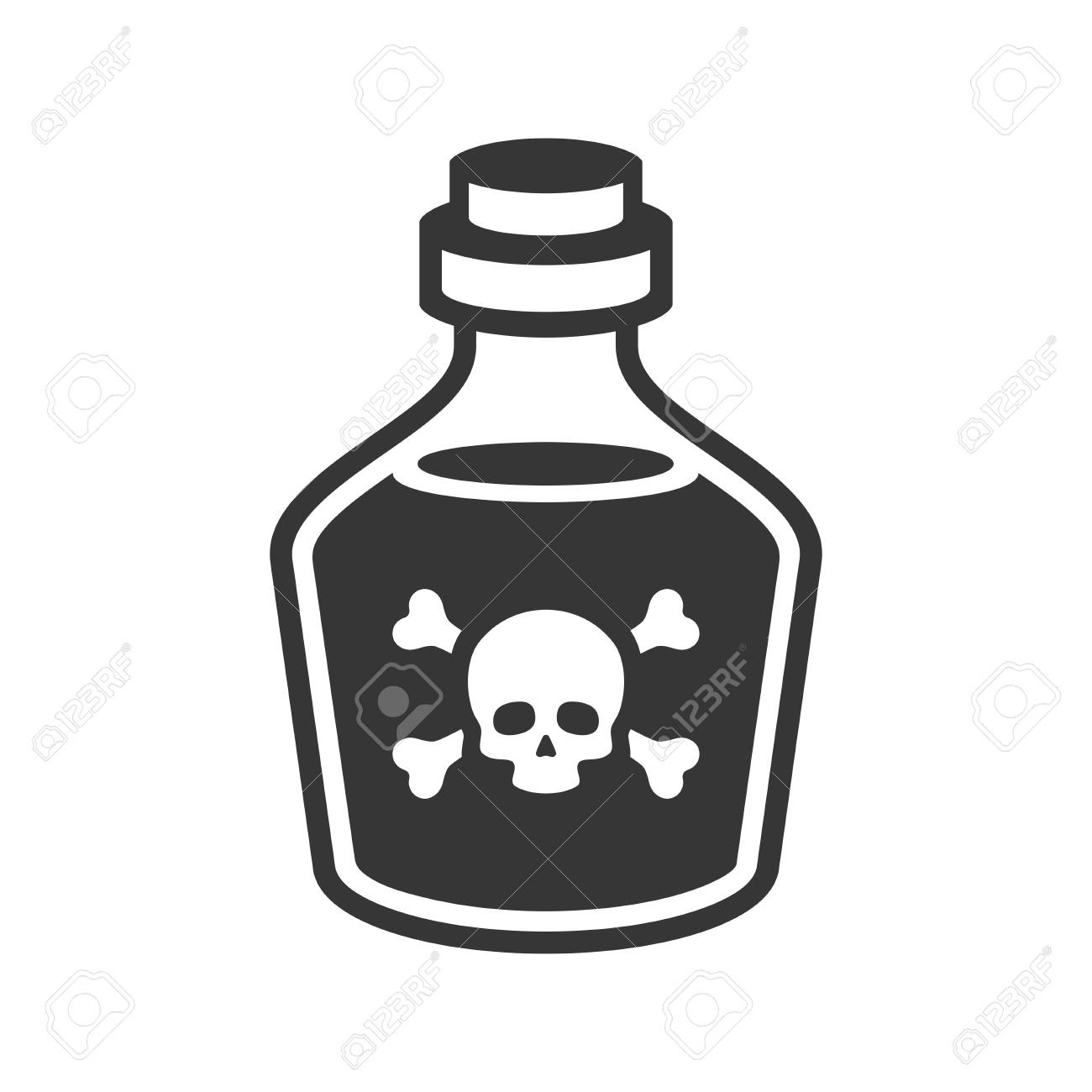 Glass Poison Bottle Icon on White Background. Vector - 95464028