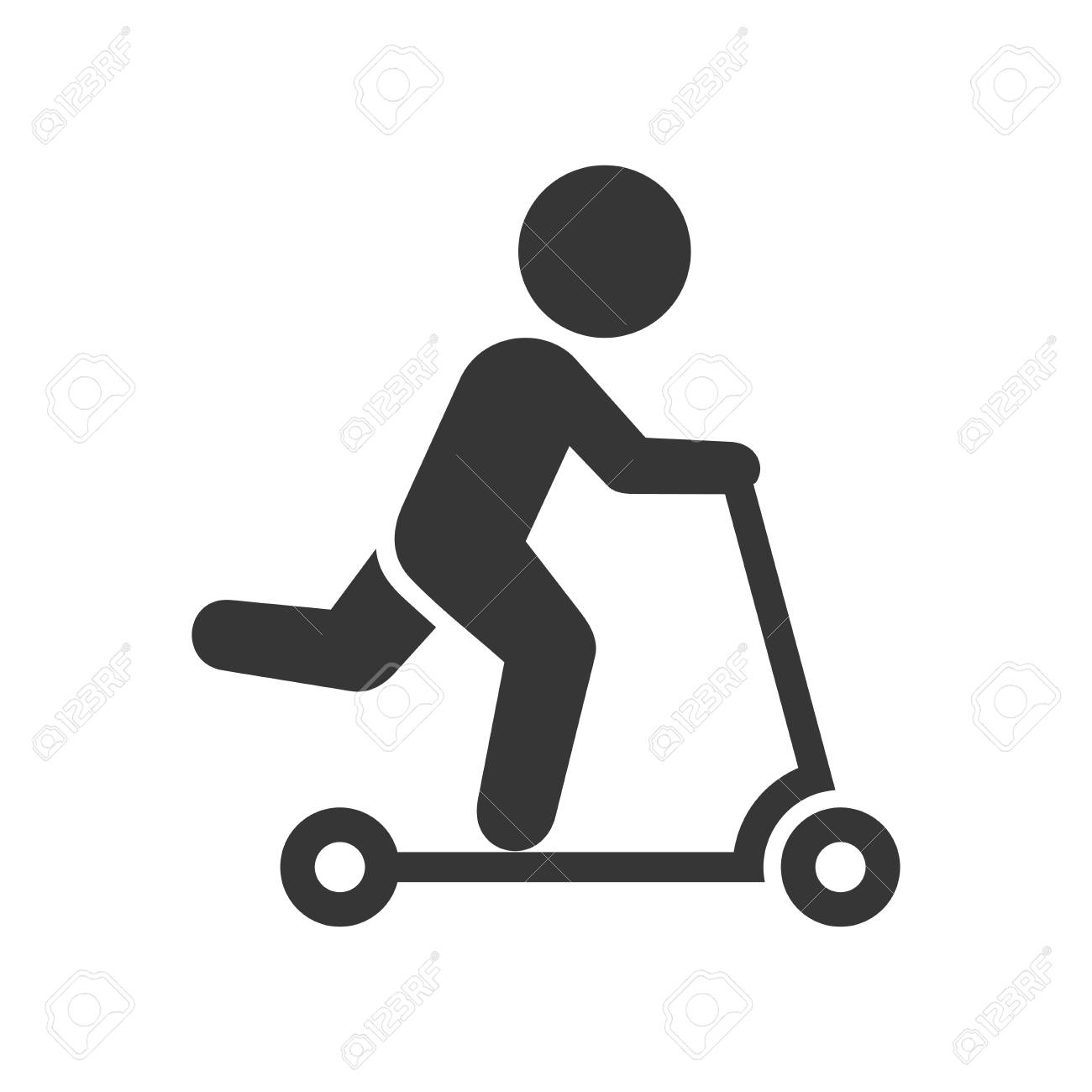 Man on Kick Scooter Icon - 102725221