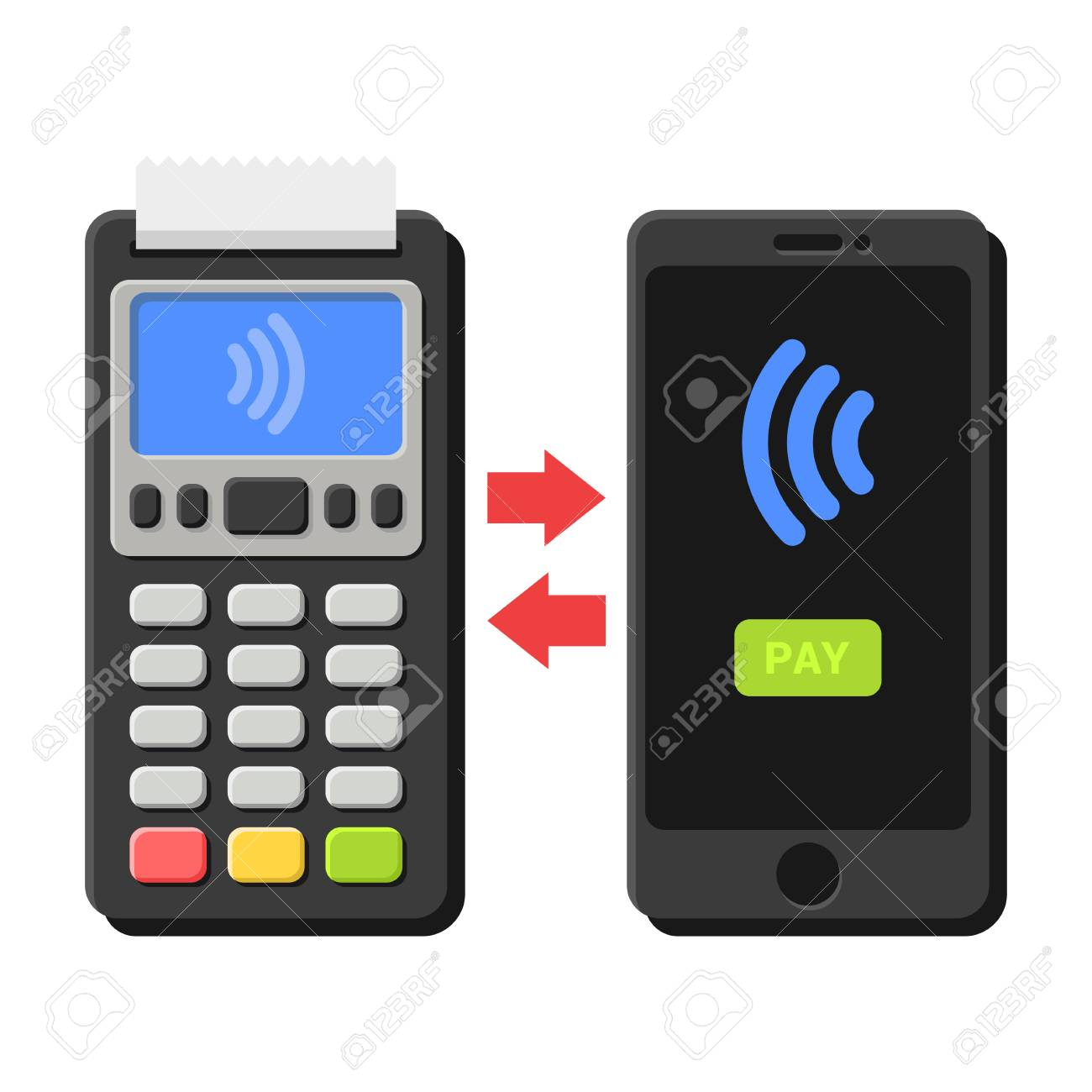POS Terminal and Smartphone NFC Payment Operation  Vector illustration