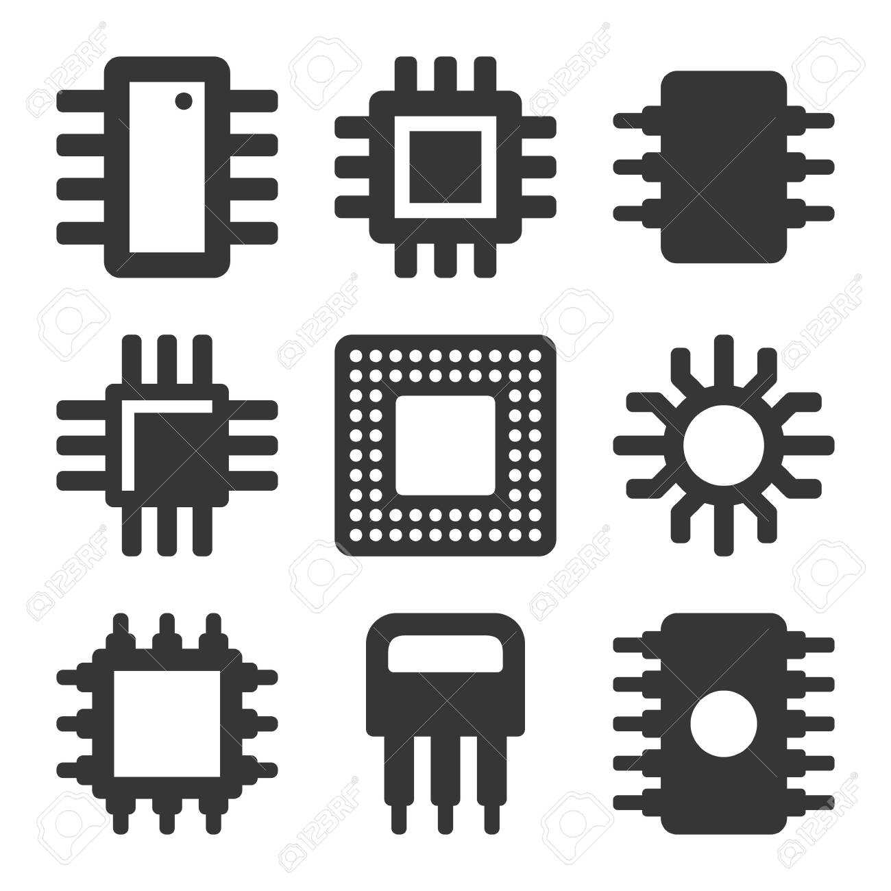 Electronic Computer CPU Chip Icons Set. Vector - 135039978