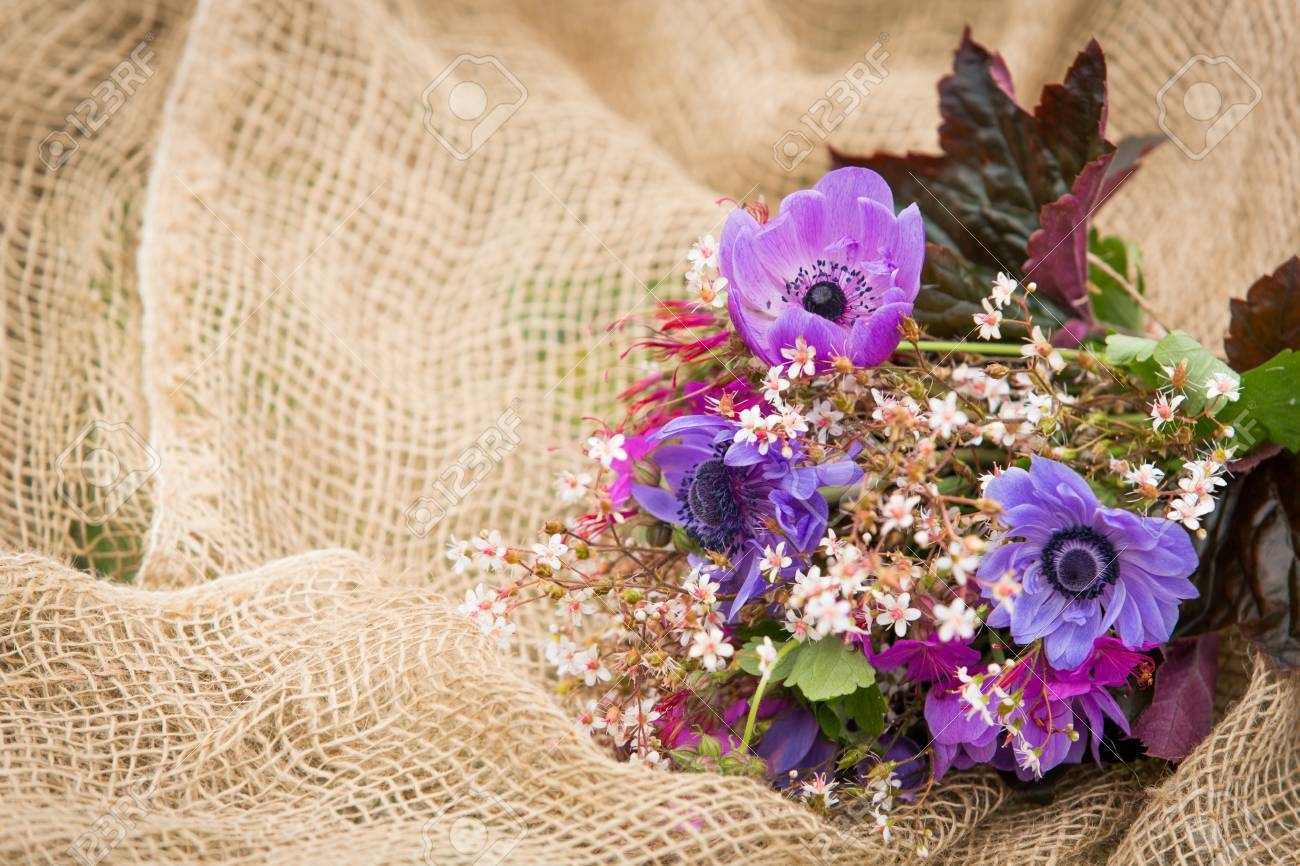 Garden Style Summer Bouquet. Mix Of Lilac And Purple Anemone.. Stock ...