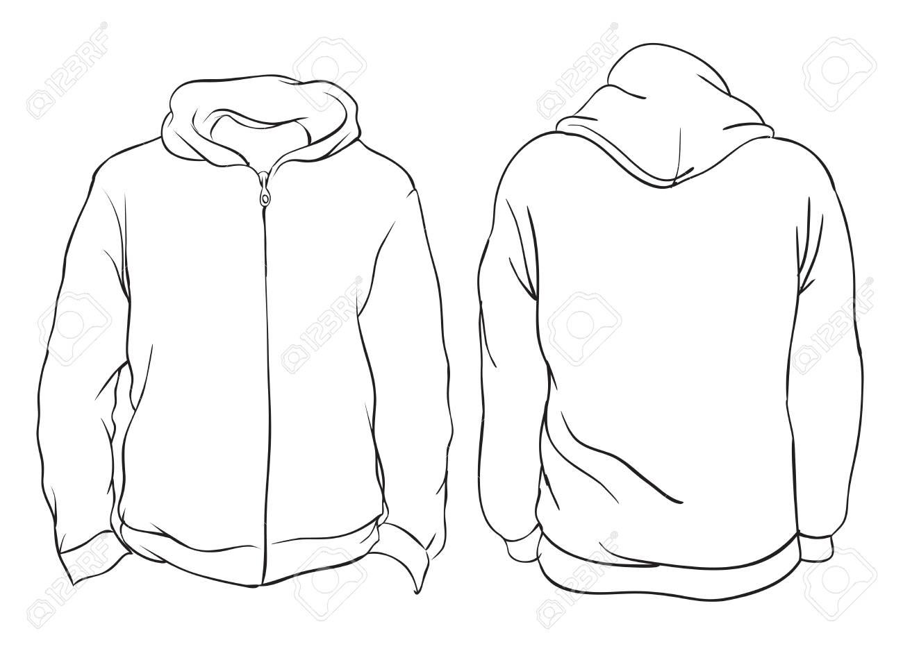 9593df3cb9 Vector Illustration. Blank Men s Hoodie Jacket With Zipper