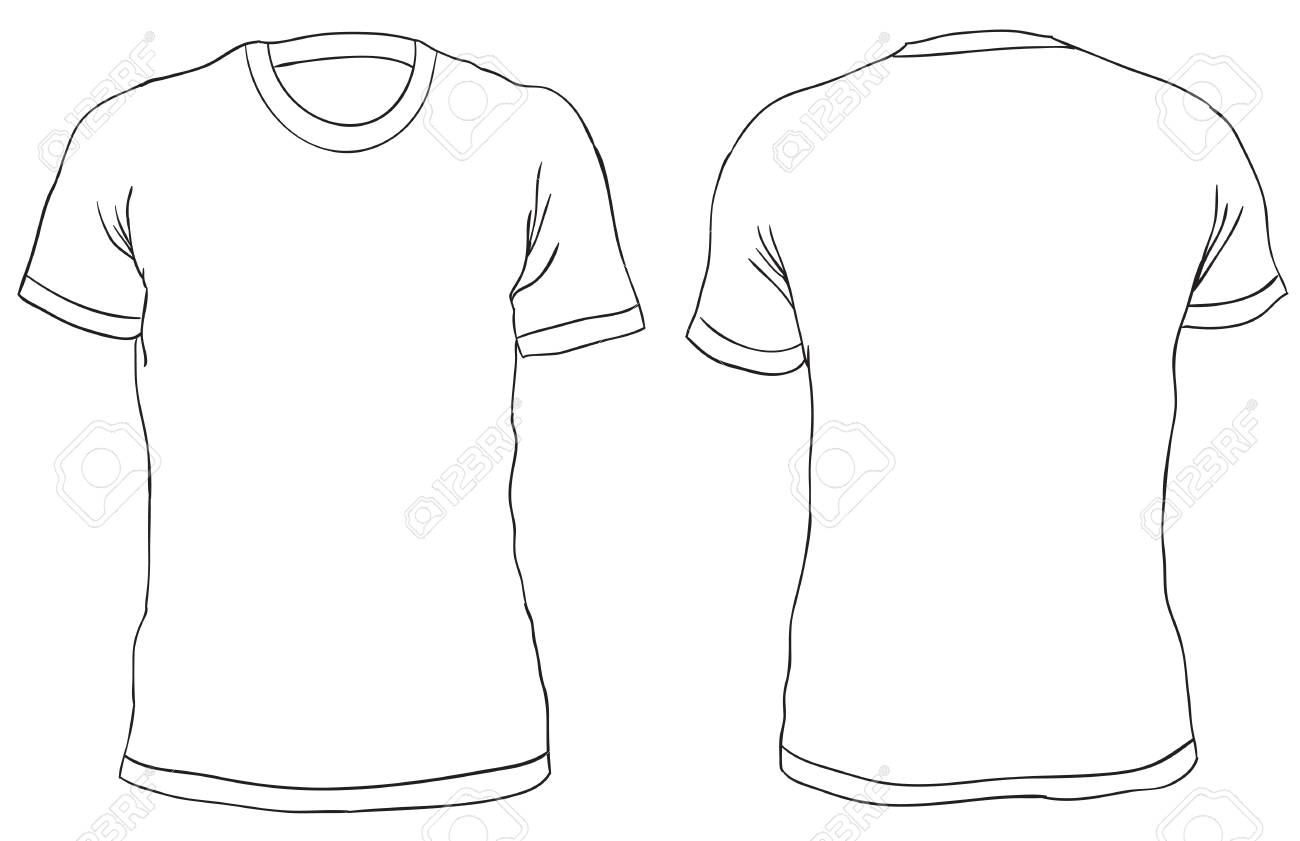 bcc450bbb Blank Men's t-shirt, front and back views. Simple outline shirt design.  Isolated on white