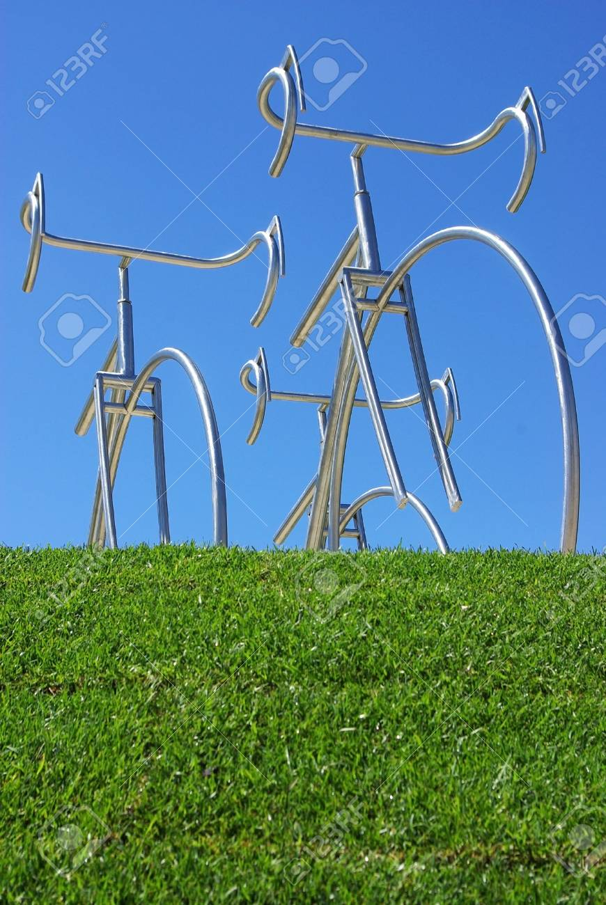 Bicycles on the green field. Stock Photo - 4860736