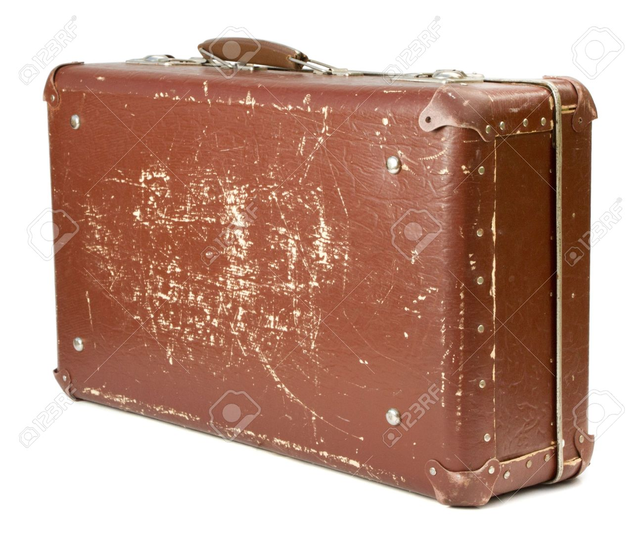 worn out old suitcase on white background stock photo picture and